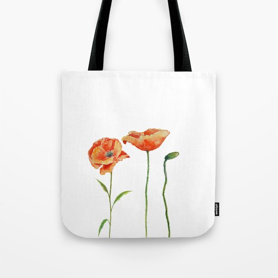 Simply poppy Vintage Watercolor illustration on white background on #Society6 Tote Bag