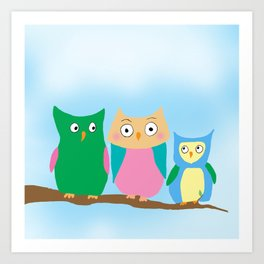 Owl Family Portrait Art Print