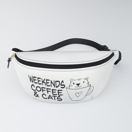 Cute Cat And Coffee graphic, Cat Coffee Weekend Funny Saying design Fanny Pack