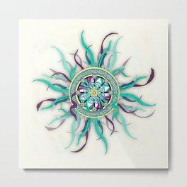 Colorful Dharma Ribbon Mandala Metal Print