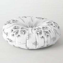 Inky Floral Rorschach Floor Pillow