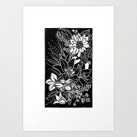 Bouquet Block Print Art Print