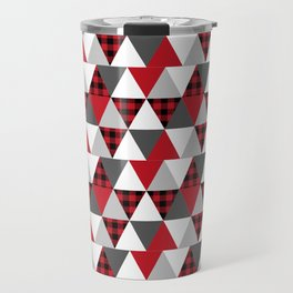 Quilt pattern buffalo check pattern red black and white with grey minimal camping Travel Mug