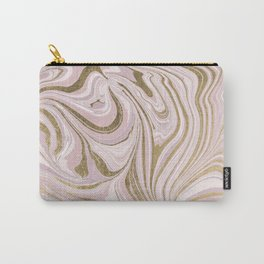 Elegant dusty pink white faux gold stylish marble Carry-All Pouch