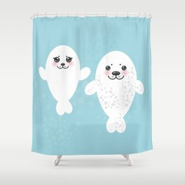 set Funny white fur seal pups, cute winking seals with pink cheeks and big eyes. Kawaii animal Shower Curtain