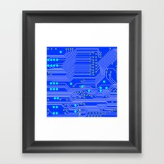 Blue Circuit Board  Framed Art Print