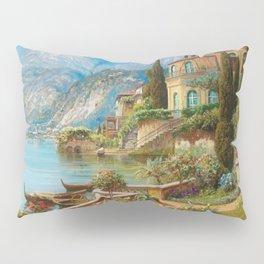 Lakeside Flower Garden Landscape Painting, Lake Como, Italy Pillow Sham