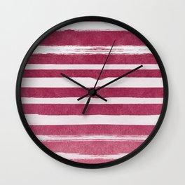 Ruby Foil Stripes Wall Clock