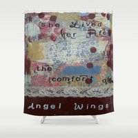 angel wings Shower Curtains featuring Angel wings  by drskippyart