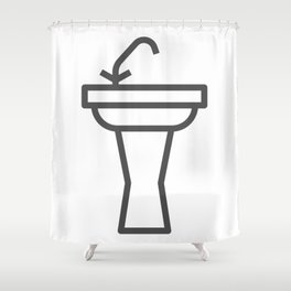 Faucet and sink bathroom elements in Design Fashion Modern Style Illustration Shower Curtain
