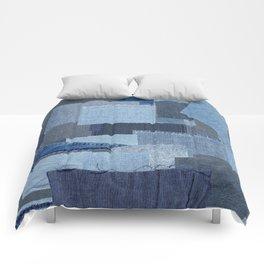 Boroboro Blue Jean Japanese Boro Inspired Patchwork Shibori Comforters