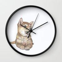 puppy Wall Clocks featuring Puppy by Miyuki Sakurai