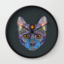 Mystic Psychedelic Cat Wall Clock