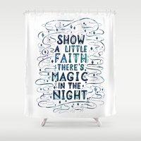 springsteen Shower Curtains featuring Magic In The Night by IndigoEleven