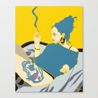 smoking Canvas Prints featuring Smoking by YTRKMR