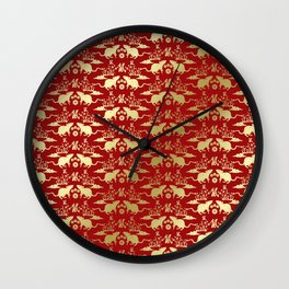 Chinese New Year of The Rat Pattern - Red and Gold Wall Clock