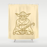 buddhism Shower Curtains featuring Yoda by Roland Banrevi