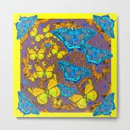 Blue & Yellow Butterflies Puce Pattern Art Metal Print