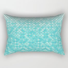 Teal Mermaid Scales Rectangular Pillow