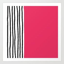 Stripes & Strawberry Pink Art Print
