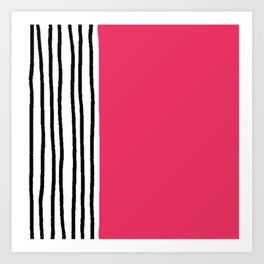Stripes & Strawberry Pink Art Print