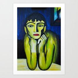 Woman with chignon Art Print