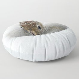 Cute Pop-up Squirrel in the Snow Floor Pillow