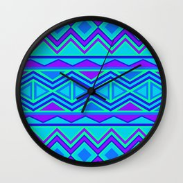 Tribal Pattern (blue & purple) Wall Clock
