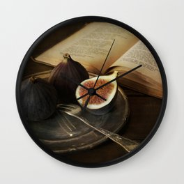 An old books and fresh figs Wall Clock