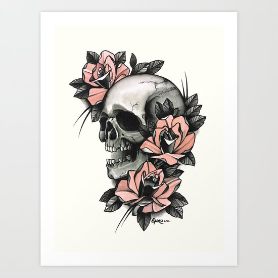 Skull and roses - tattoo Art Print