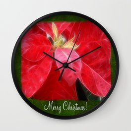 Mottled Red Poinsettia 2 Merry Christmas P1F1 Wall Clock