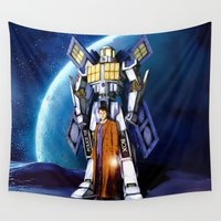 transformers Wall Tapestries featuring tardis Doctor Who Mashup transformers Phone Box Robot iPhone 4 4s 5 5c 6, pillow case and tshirt by Three Second