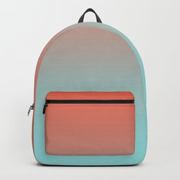 Pantone Living Coral & Limpet Shell Gradient Ombre Blend, Soft Horizontal Line Backpack