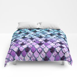 Purple Teal Mermaid Princess Glitter Scales #1 #shiny #decor #art #society6 Comforters