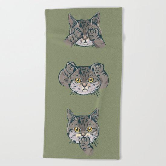 No Evil Cat Beach Towel