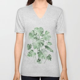 Delicate Monstera Green #society6 Unisex V-Neck