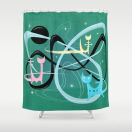 Atomic Rocket Cats In Space Shower Curtain