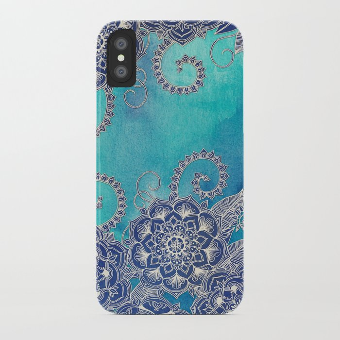 Mermaid's Garden - Navy & Teal Floral on Watercolor iPhone Case