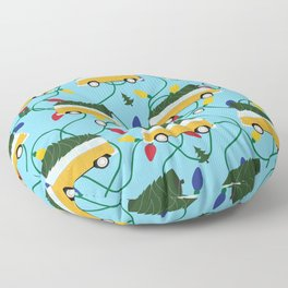 Retro Bus with Christmas Pattern Floor Pillow