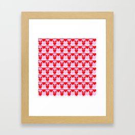 Love Heart Red Pink and White Check Pattern Framed Art Print