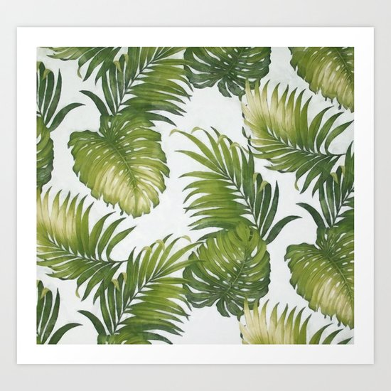 Monstera and palm leaves Art Print