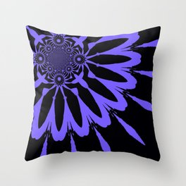 The Modern Flower Black and Periwinkle Purple Throw Pillow