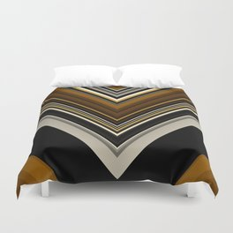 Retro Triangles Pattern in black, grey, yellow and brown Duvet Cover