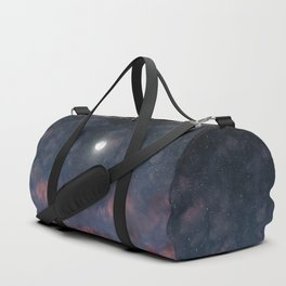 Glowing Moon on the night sky through pink clouds Duffle Bag