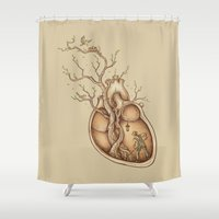 bird Shower Curtains featuring Tree of Life by Enkel Dika