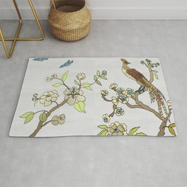 Chinoiserie Panels 3-4 Silver Gray Raw Silk - Casart Scenoiserie Collection Rug
