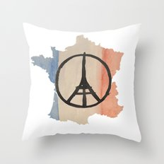 Outline of France with Tri-color Peace Throw Pillow