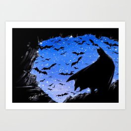 Batmaninthe Batcave Art Print