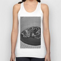 sofa Tank Tops featuring sleeping cat on sofa by gzm_guvenc