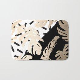 Simply Tropical Midnight Black Memphis Palm Leaves Bath Mat